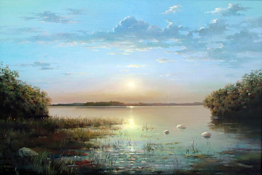 Закат на озере br пейзаж масло холст